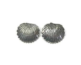 Vintage Sterling Diamond Cut Feather Earrings