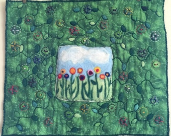 Felted, Embroidered, Handmade,Spring Mini Art quilt
