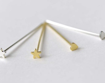 Shiny Silver/Gold Star Heart Headpins Jewelry Findings High Quality - 22G - 30mm  Set of 20
