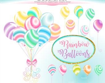 ON SALE Rainbow Balloons Clip Art _ Birthday Balloons Clipart,Party Clipart,Party Embellishment,balloon bunch clip art,Candy Balloons
