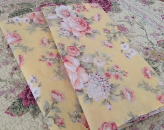 Shabby Chic Yellow / Pink Roses, Hand Towels, Tea Towels, Guest Towels, Basket Liners, Farmhouse Chic - Set of 2, by CHOW with ME