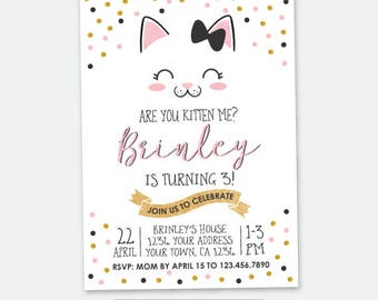 Kitty Birthday invitation, Kitty Cat Birthday Party, Cat Invitation, Pawty Invitation, Personalized Digital Invitation