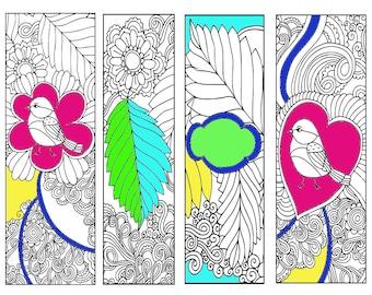 Bookmarks Coloring Printable, scaleable PDF file super quality, Instant Download. 60v.