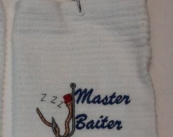 Fishing towel. Great personalized gift for the fisherman with a fun sense of humor.