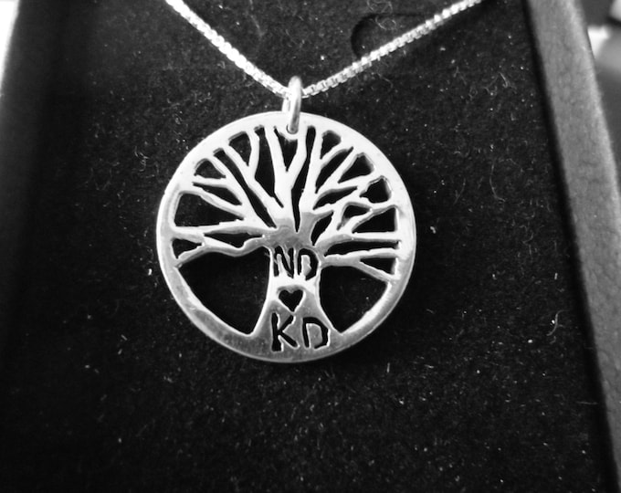 Tree of life necklace with initials quarter size w/sterling silver chain