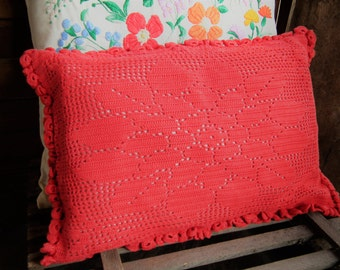 Crochet HUGARIAN DELIGHTFUL Candy RED and Hemp Cushion Covers x 2 Crochet Stitch Heavy Cotton Scatter Pillows, Floral Traditional Folk Decor