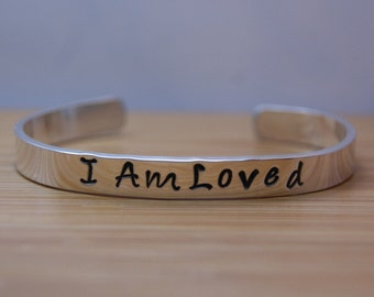READY TO SHIP adult sterling silver I am loved bracelet - loved bracelet - love bracelet - I am loved - love gift - handstamped bracelet