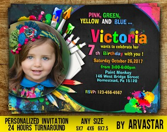 Art Party Invitation-Art Birthday Invitation-Art Birthday Party Invitation-Art Party Invite-Birthday Party Invitation- Digital file