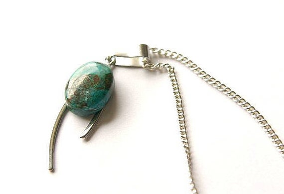 Natural Chrysocolle Jewelry,  Gemstone Necklace, Pendant Cabochon, Healing Crystals, Chrysocolle Gift for Her