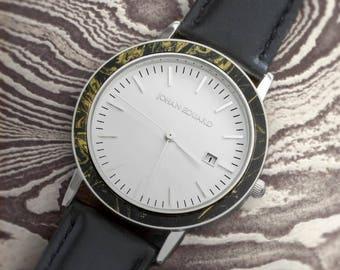 Mokume Gane Wristwatch, Silver Metal With Black Leather Strap, Handmade Jewelry, Johan Eduard Watches