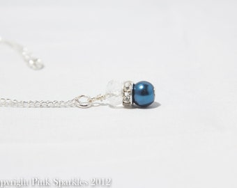 Midnight Blue Pearl and Crystal Necklace