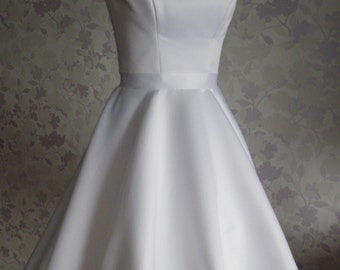 Vintage Inspired Wedding Dress in style of Audrey Hepburn 1950 with Tea Length Skirt, V Shaped Back Cutout, Minimalistic