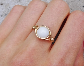 Gold ring, gold wire ring, white stone ring, wire ring, gemstone ring, stone wire ring, custom ring, dainty wire ring, simple ring, stone