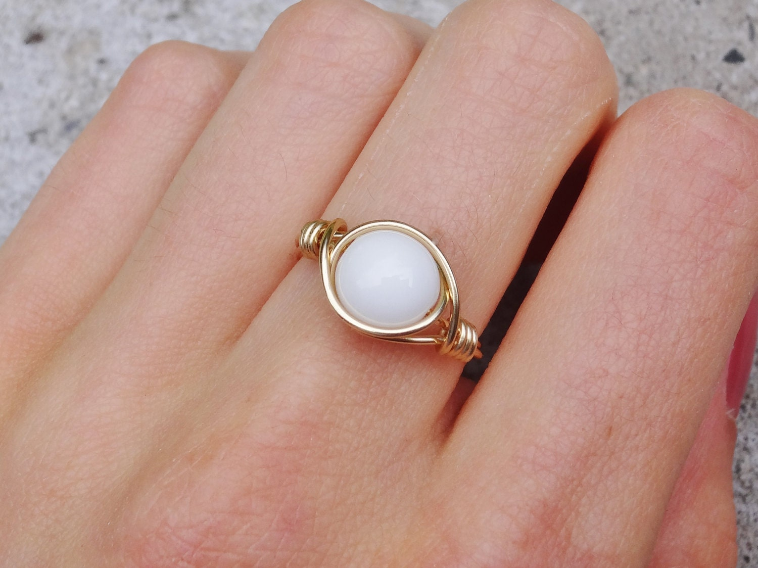 Gold ring gold wire ring white stone ring wire ring