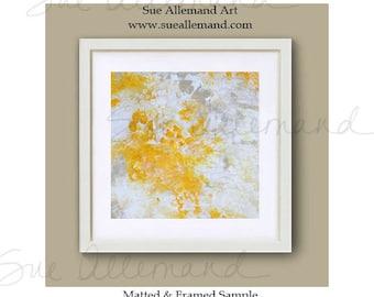 """SUNLIGHT DANCING, Original Art Print 8"""" x 8"""", Painting by Sue Allemand,  Yellow White Inspirational Abstract Art, Zen Wall Art"""