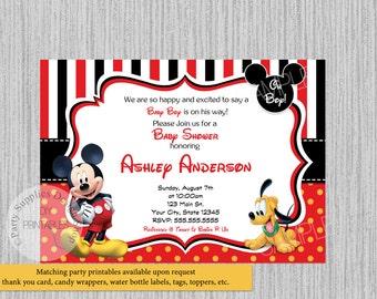 Printed or digital disney baby mickey mouse baby shower disney mickey mouse baby shower invitations mickey baby shower invitations clubhouse mickey pluto baby shower invitations print your own filmwisefo