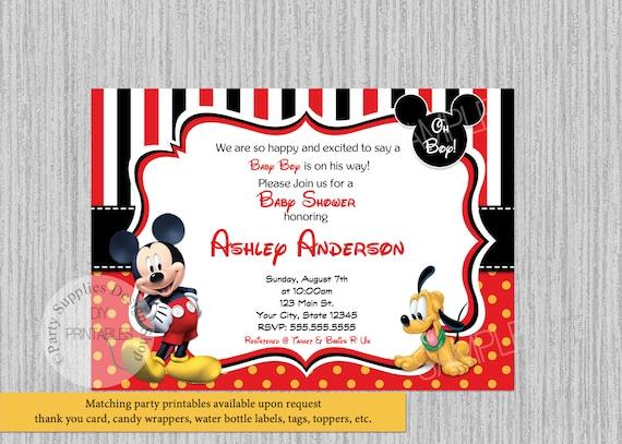 Disney Mickey Mouse Baby Shower Invitations Mickey Baby