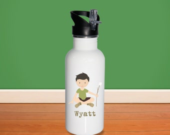Camper Kids Water Bottle - Camper Boy with Name, Child Personalized Stainless Steel Bottle BPA Free Back to School
