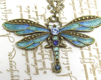 Handpainted dragonfly necklace, blue dragonfly, gold dragonfly, Art Nouveau jewellery, Victorian necklace, dragonfly jewellery