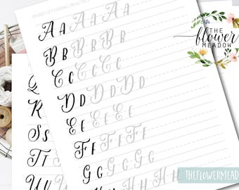 Worksheets lettering practice, wedding brush alphabet, Calligraphy tutorial, Learn calligraphy, hand lettering guide, Brush lettering  17