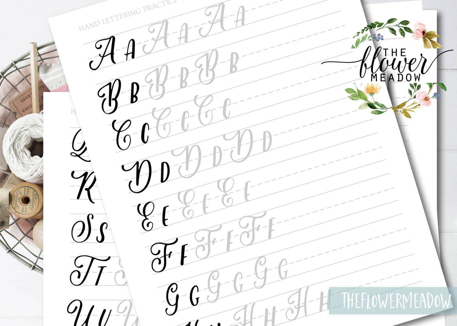 Worksheets lettering practice wedding brush alphabet calligraphy this is a digital file baditri Images