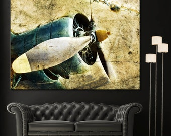 Aviation Propeller Airplane Engine Picture Wall Art Canvas Den Giclee Print - Highest Quality Canvas Prints - Not stretched or framed