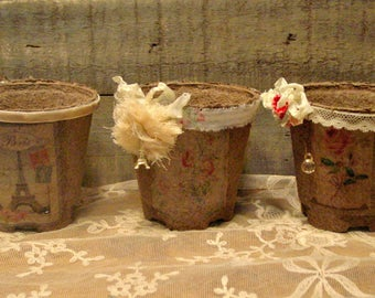 Rustic Altered Pots - Peat Pots - Shabby and Chic Storage - Office Storage - Altered Peat Pots - French Inspired Pots - Farmhouse Decor