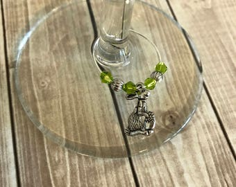 4 Wine Charms, Easter Bunny Wine Charm, Easter Wine Charms, Party Favors, Wine Glass Charm, Easter, Easter Bunny, Easter Egg, Easter Gift