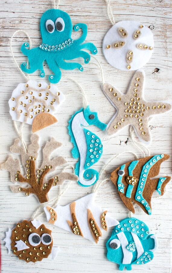 10 Ocean Life Pattern Felt Ornaments Pdf No Sew Ornament