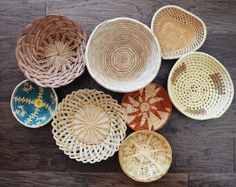 Set of 8 Vintage Wicker Rattan Baskets, Woven Straw Boho Wall Decor, Jungalow Basket Decor