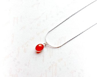 Carnelian Necklace, Carnelian Pendant, Sterling Silver Gemstone Necklace, Gifts for Her, Gifts for Her, Gifts under 25