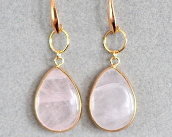 Rose Quarts and Rose Gold Drop Earrings