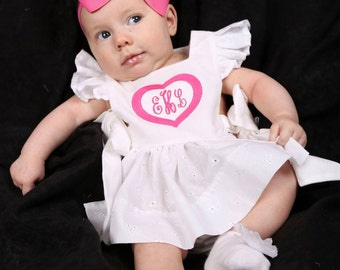 GIRL Pinafore Top - Baby/Toddler - CUSTOM - Monogram, Applique, Embroidery - White Eyelet - Side Tie - 0/3 Month to 5 years