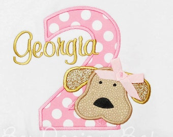 Girl's Dog Birthday Shirt, Dog Birthday Shirt, Number, Monogrammed, Custom Colors, Girls Birthday Shirt, Any Age, Puppy Birthday Shirt