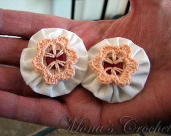 Hand Crocheted Peach Button Flower And White Fabric YoYo Hair Barrette | Crochet Hair Clip | Crochet Hair Barrette - Set of 2