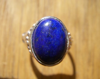 Hand made and cut Lapis Lazuli Sterling Silver Roman style ring