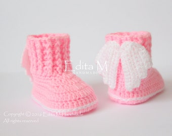 Crochet baby booties, baby shoes, angel wings, Baptism, Christening, photo prop, baby shower, announcement, gift idea, 0-3, 3-6, 6-9 months