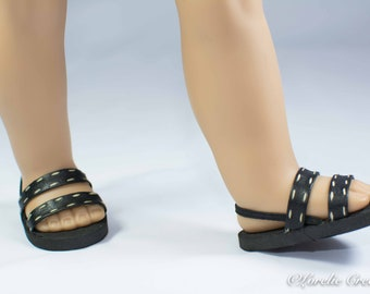 18 inch doll SANDALS SHOES Flip flops in Black Faux Leather with Double Straps and Accent Stitching for dolls like American Girl