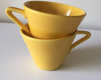 Homer Laughlin Harlequin tea cups mustard yellow vintage 1930's