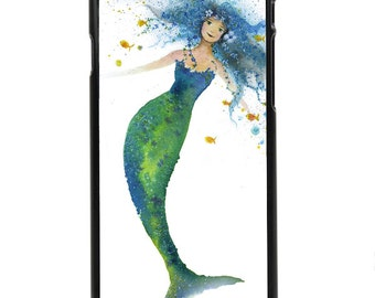 "Phone Case ""Drifting"" - Mermaid Ocean Child Watercolor Art Painting Fishlady by Olga Cuttell"