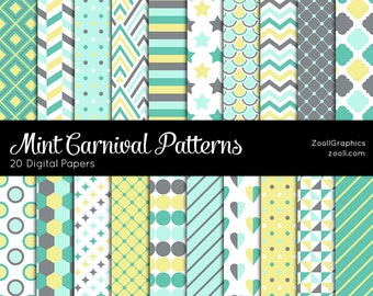 "Mint Carnival Patterns, 20 Digital Papers (12""x12""), Photoshop Pattern File PAT Included, Seamless, Commercial Use, INSTANT DOWNLOAD"