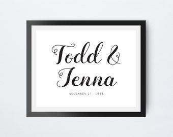 8x10 Wedding Sign, Wedding Couples Names Print, Wedding Date Print, Printable Wedding Signs, Instant Download, Digital Download