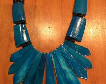 Bright Blue Arctic Wooden Necklace