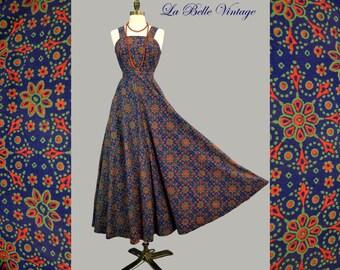 70s Indian Cotton Maxi Dress S Vintage Bohemian Festival Gown ~ Batik Floral