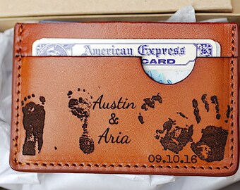 New Daddy Gift, Baby Footprints, New Baby Handprints, Gift For Men, Daddy Wallet, Slim Wallet, New Mommy Gift, Newborn Baby Gift, Wallet,