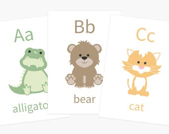 Alphabet Flashcards | Alphabet Animals | Letter Flashcards | Nursery Decor | Baby Birthday Gift | New Mom Gift | Nursery Decor | Baby Gift