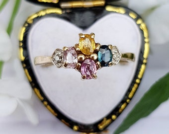 Vintage 9ct Yellow Gold Rainbow Blue Pink Yellow Sapphire Cluster Ring / Size R