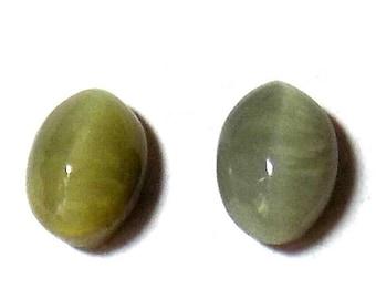 40% Sale -- Cats Eye, Cabochon Stone, Oval Shape, 2 pcs, 8 x 12 mm Size.