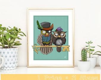 Owls Digital Print, Digital Art, Drawing, Wall Art, Digital Download