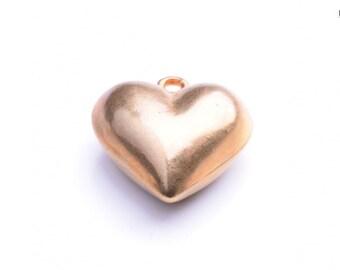Puff Brass Plated heart, 36mm